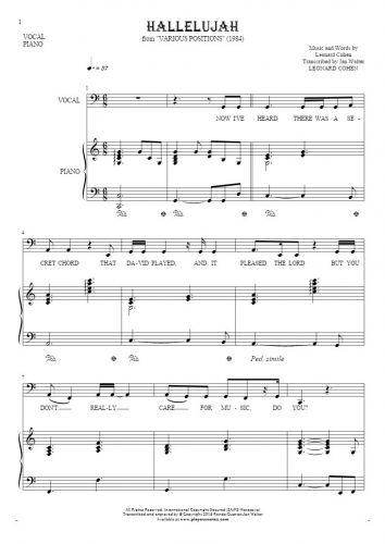 Hallelujah - Notes and lyrics-(bass clef) for vocal with accompaniment