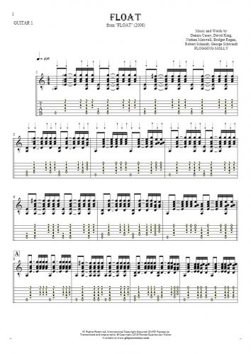Float - Notes and tablature for guitar - guitar 1 part