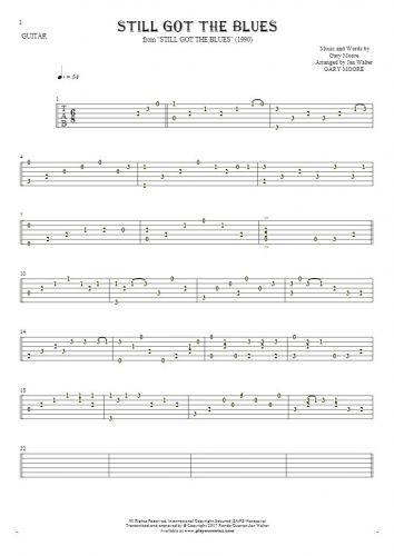 Still Got The Blues - Tablature for guitar solo (fingerstyle)
