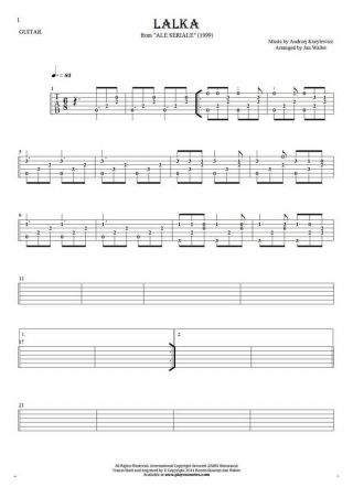 Die Puppe - Tabulatur (Rhythm Werte) für Gitarre solo (fingerstyle)