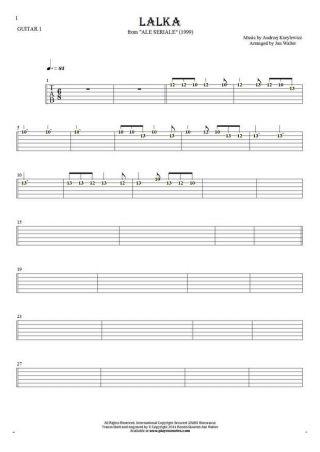 Die Puppe - Tabulatur (Rhythm Werte) für Gitarre - Gitarrestimme 1