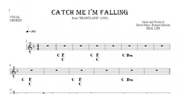 Catch Me Im Falling Notes Lyrics And Chords For Vocal With