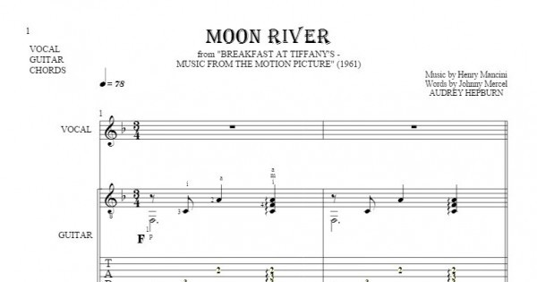Moon River - Notes, tablature, chords and lyrics for vocal with ...