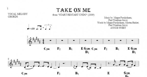 Take On Me - Notes and chords for solo voice with accompaniment ...