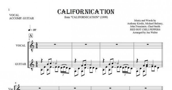 Californication - Notes, lyrics and chords for vocal with guitar ...