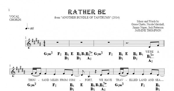 Rather Be Notes Lyrics And Chords For Vocal With Accompaniment