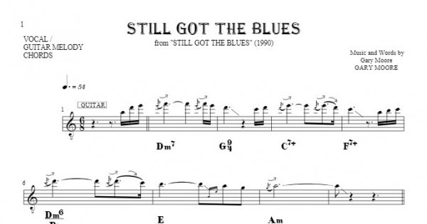 Still Got The Blues - Notes, lyrics and chords for vocal with ...