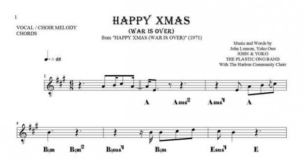Happy Xmas War Is Over Notes And Chords For Solo Voice With