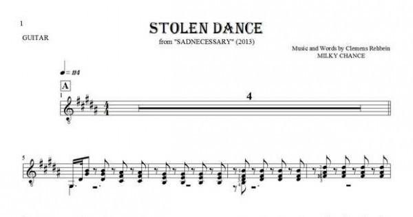 Stolen Dance - Notes for guitar | PlayYourNotes