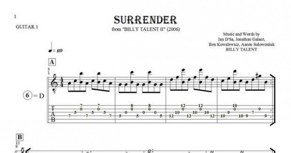 surrender notes and tablature for guitar guitar 1 part. Black Bedroom Furniture Sets. Home Design Ideas
