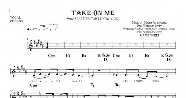 Take On Me - Notes, lyrics and chords for vocal with accompaniment ...