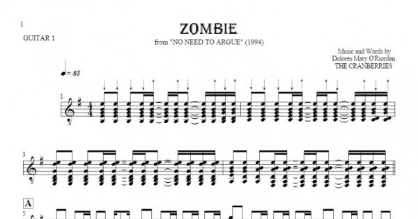 Zombie - The Cranberries - Sheet music and guitar tablatures : PlayYourNotes