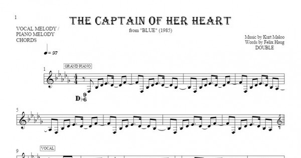 The Captain Of Her Heart Notes And Chords For Solo Voice With