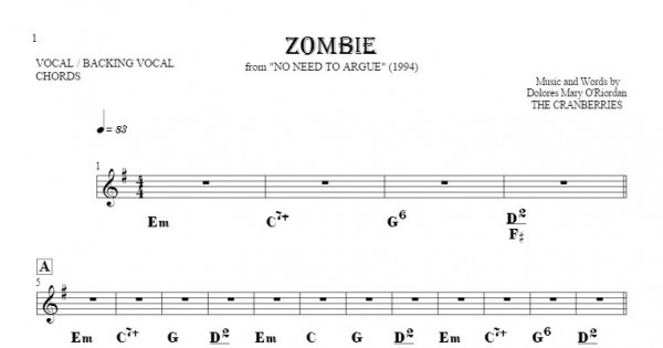 Zombie Notes Lyrics And Chords For Vocal With Accompaniment