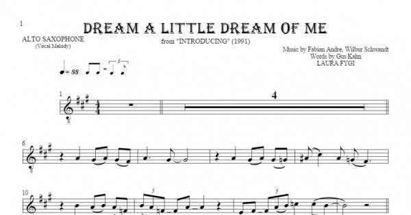 Dream A Little Dream Of Me Notes For Alto Saxophone Melody Line