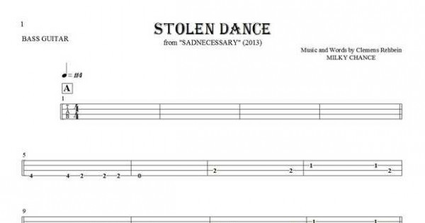 Stolen Dance - Tablature for bass guitar | PlayYourNotes