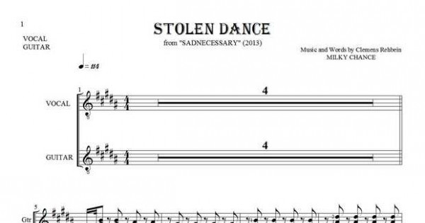 Stolen Dance - Notes and lyrics for vocal and guitar | PlayYourNotes