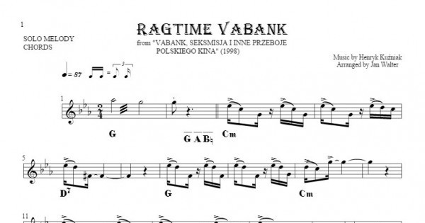 Ragtime Vabank Notes And Chords For Solo Voice With Accompaniment