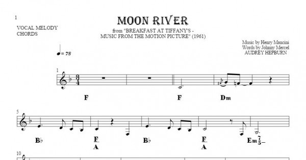 Moon River - Notes and chords for solo voice with accompaniment ...