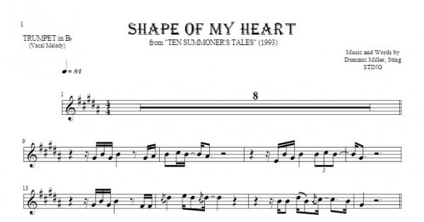 Shape Of My Heart - Notes for trumpet - melody line | PlayYourNotes