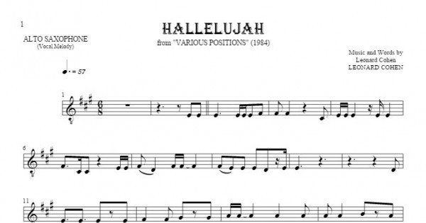 hallelujah song sheet music pdf