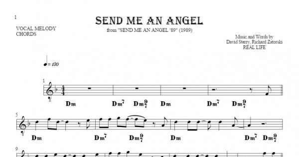 Send Me An Angel Notes And Chords For Solo Voice With