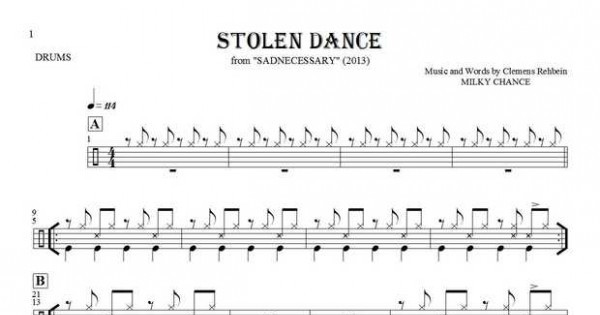 Stolen Dance - Notes for drum kit | PlayYourNotes