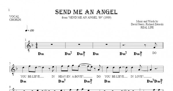 Send Me An Angel Notes Lyrics And Chords For Vocal With