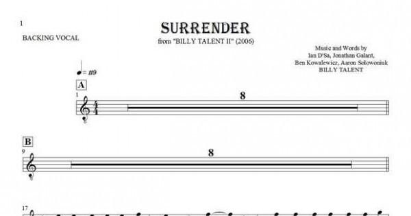 surrender notes and lyrics for vocal backing vocals. Black Bedroom Furniture Sets. Home Design Ideas