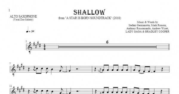 Shallow - Notes for alto saxophone - melody line | PlayYourNotes