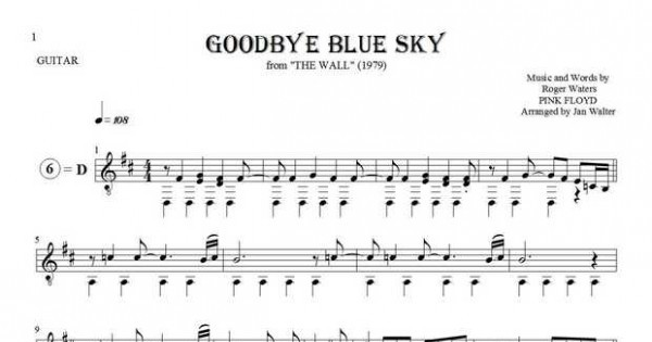 Goodbye Blue Sky Pink Floyd Sheet Music And Guitar
