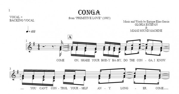 Conga - Notes and lyrics for vocal | PlayYourNotes