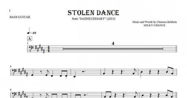 Stolen Dance - Notes for bass guitar | PlayYourNotes