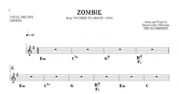 Zombie - Notes and chords for solo voice with accompaniment ...