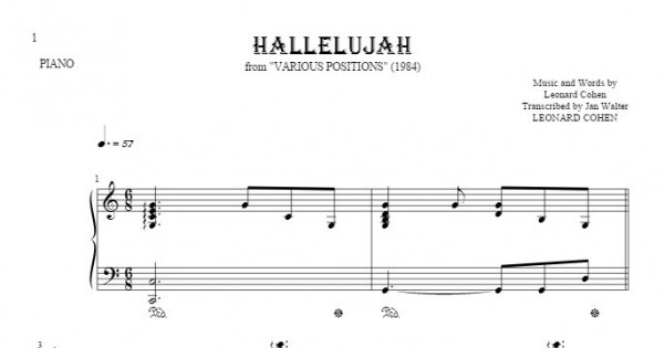 Hallelujah - Notes for piano - accompaniment | PlayYourNotes